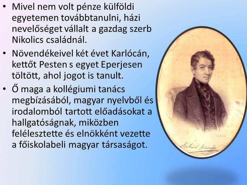 Mivel nem volt pénze külföldi egyetemen továbbtanulni, házi nevelőséget vállalt a gazdag szerb Nikolics családnál.