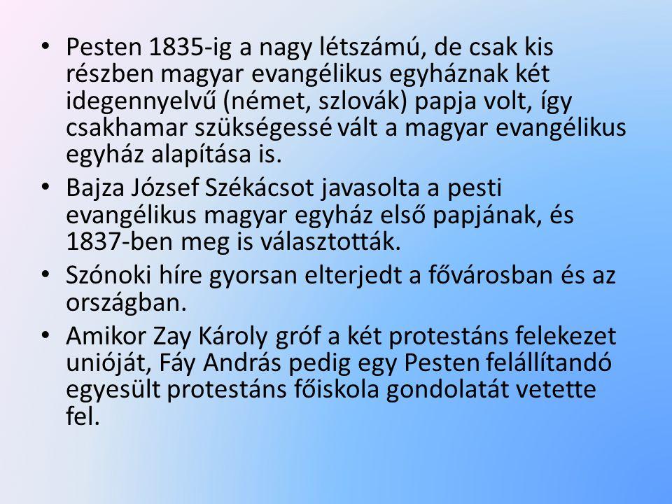 Pesten 1835-ig a nagy létszámú, de csak kis részben magyar evangélikus egyháznak két idegennyelvű (német, szlovák) papja volt, így csakhamar szükségessé vált a magyar evangélikus egyház alapítása is.