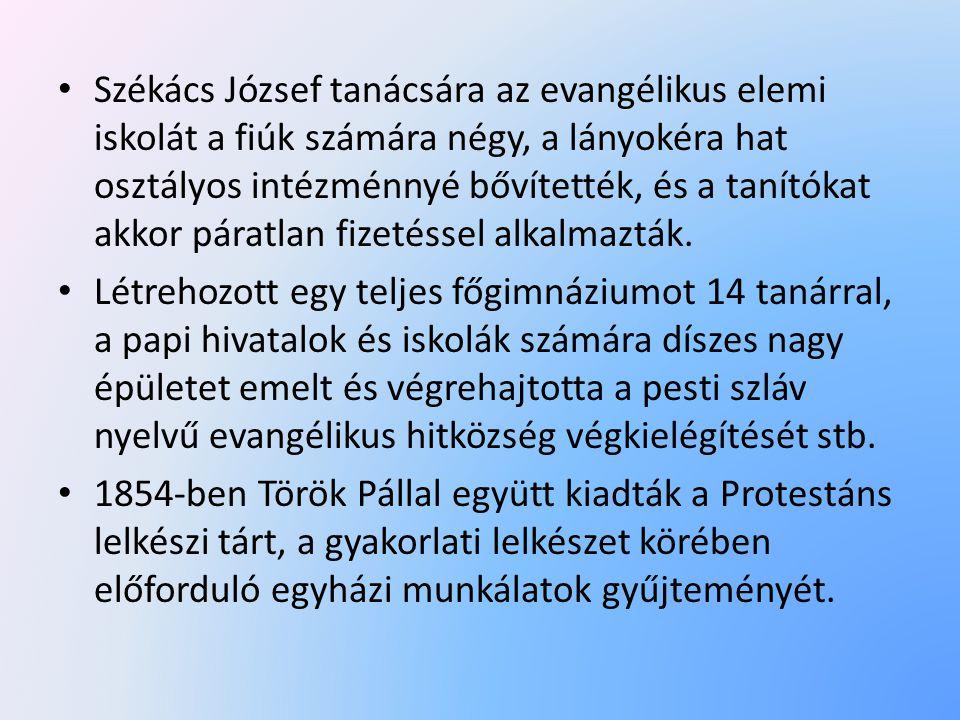 Székács József tanácsára az evangélikus elemi iskolát a fiúk számára négy, a lányokéra hat osztályos intézménnyé bővítették, és a tanítókat akkor páratlan fizetéssel alkalmazták.