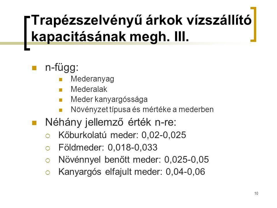Trapézszelvényű árkok vízszállító kapacitásának megh. III.