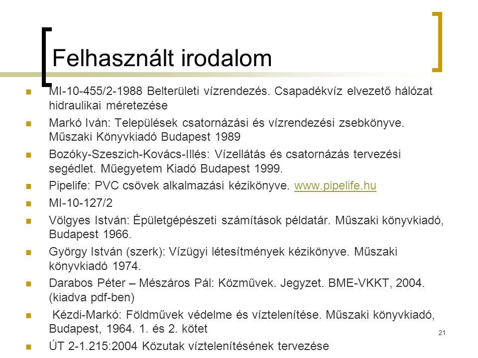 Felhasznált irodalom MI-10-455/2-1988 Belterületi vízrendezés. Csapadékvíz elvezető hálózat hidraulikai méretezése.