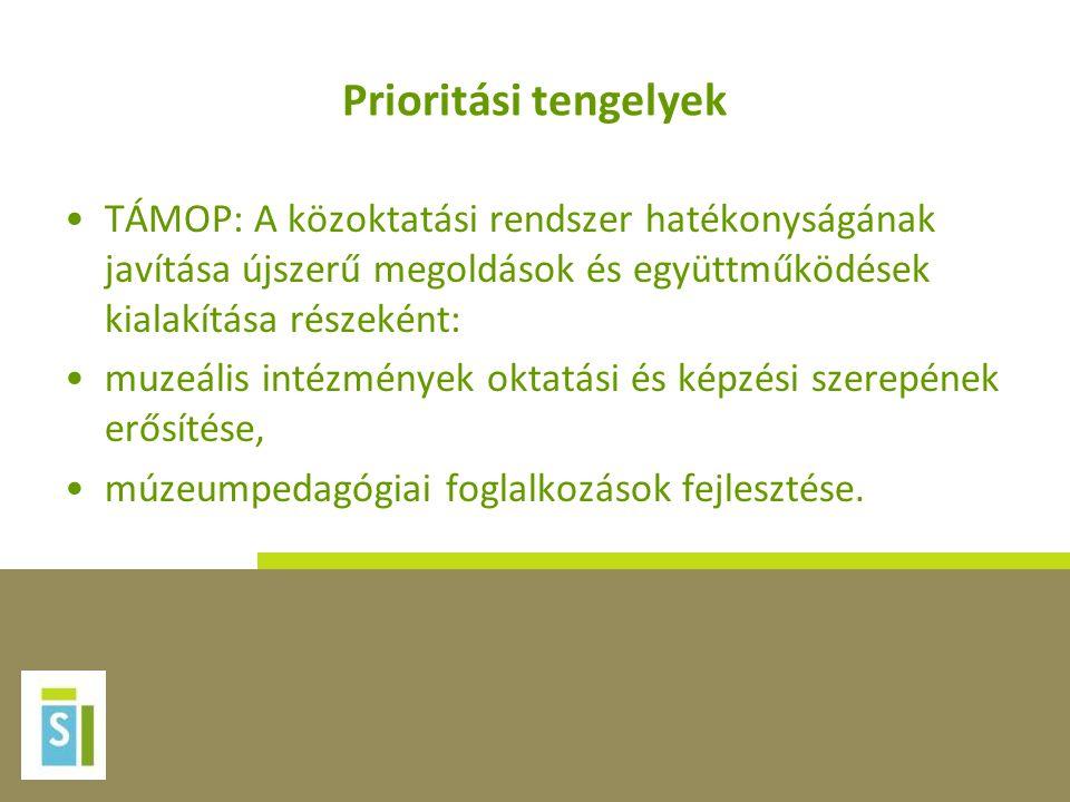 Prioritási tengelyek TÁMOP: A közoktatási rendszer hatékonyságának javítása újszerű megoldások és együttműködések kialakítása részeként: