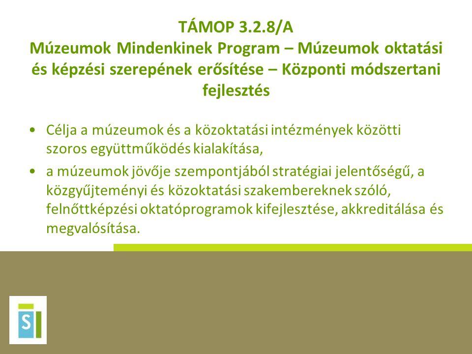 TÁMOP 3.2.8/A Múzeumok Mindenkinek Program – Múzeumok oktatási és képzési szerepének erősítése – Központi módszertani fejlesztés
