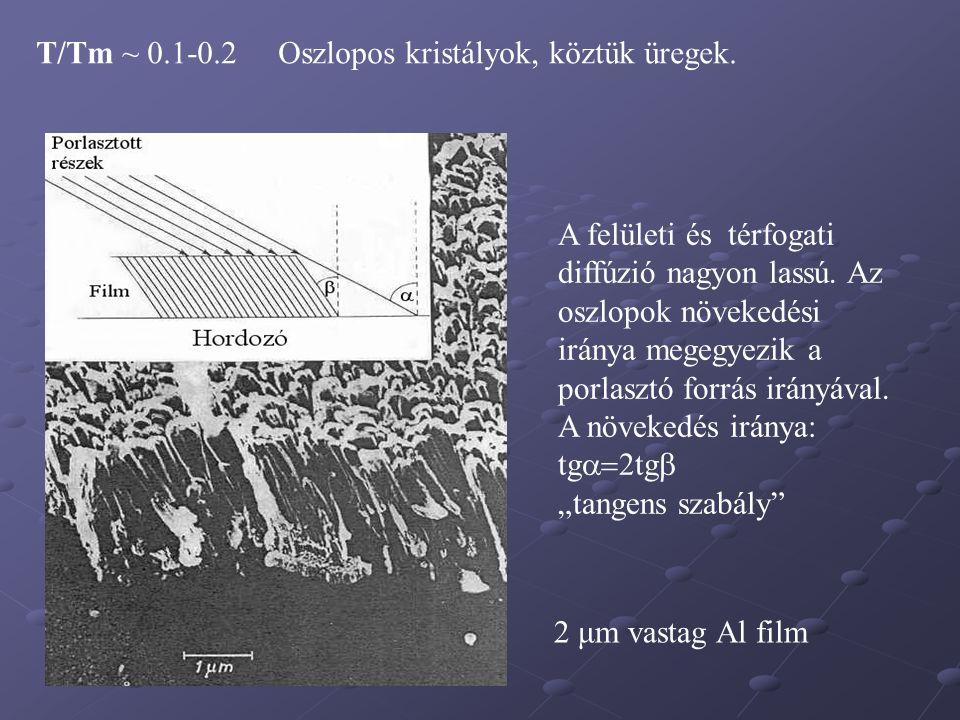 T/Tm ~ 0.1-0.2 Oszlopos kristályok, köztük üregek.