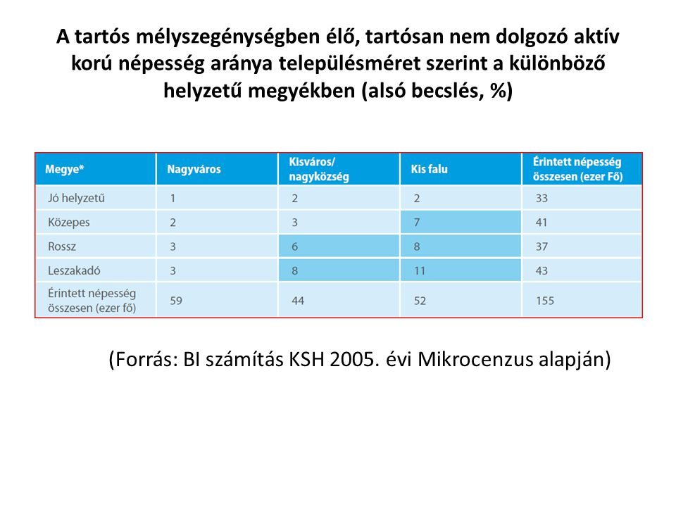 (Forrás: BI számítás KSH 2005. évi Mikrocenzus alapján)