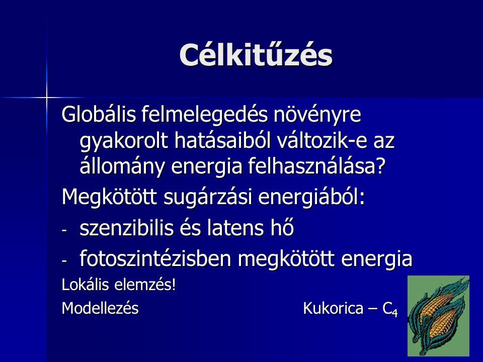 Célkitűzés Globális felmelegedés növényre gyakorolt hatásaiból változik-e az állomány energia felhasználása