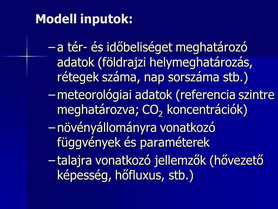 Modell inputok: a tér- és időbeliséget meghatározó adatok (földrajzi helymeghatározás, rétegek száma, nap sorszáma stb.)