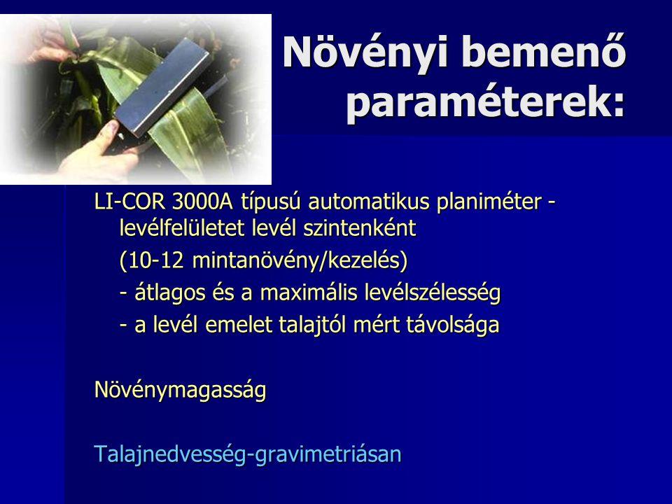 Növényi bemenő paraméterek: