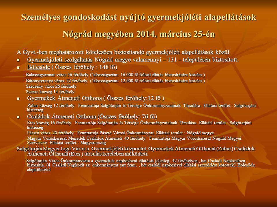 Személyes gondoskodást nyújtó gyermekjóléti alapellátások Nógrád megyében 2014. március 25-én