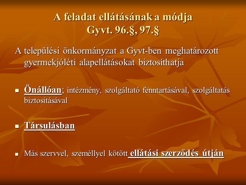 A feladat ellátásának a módja Gyvt. 96.§, 97.§