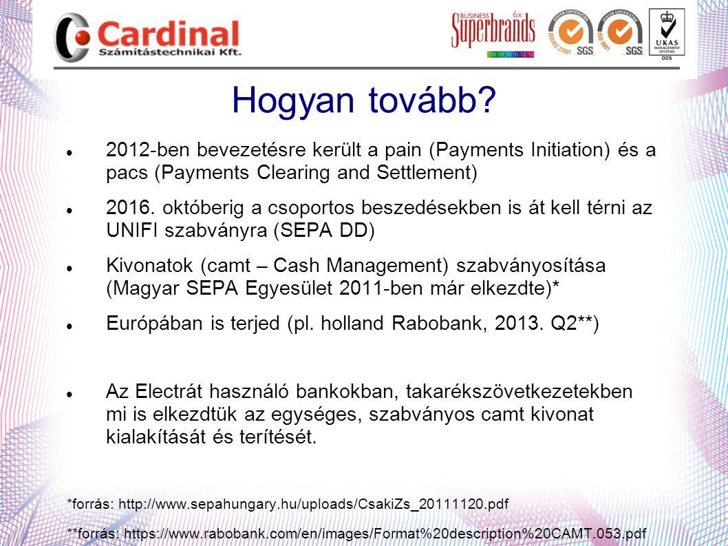 Hogyan tovább 2012-ben bevezetésre került a pain (Payments Initiation) és a pacs (Payments Clearing and Settlement)