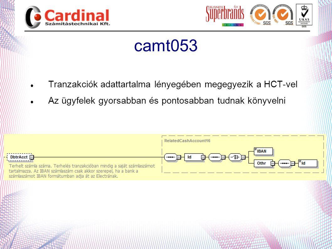 camt053 Tranzakciók adattartalma lényegében megegyezik a HCT-vel