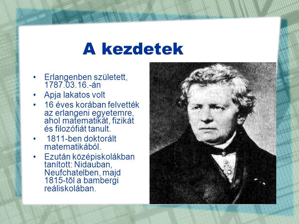 A kezdetek Erlangenben született, 1787.03.16.-án Apja lakatos volt