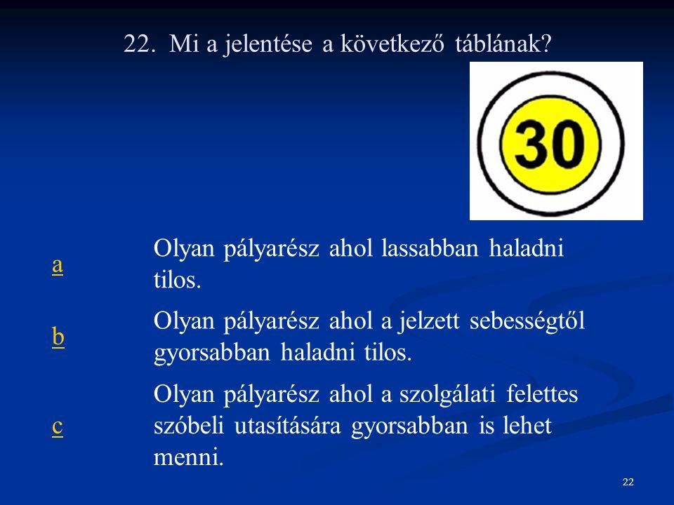 22. Mi a jelentése a következő táblának