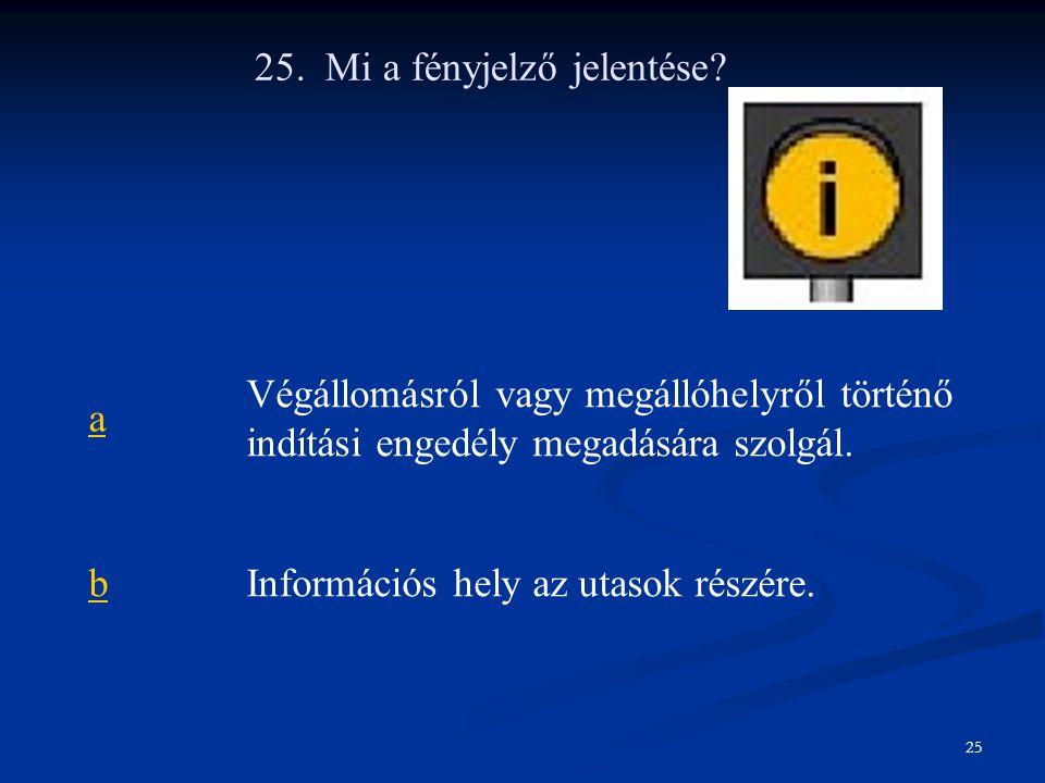 25. Mi a fényjelző jelentése