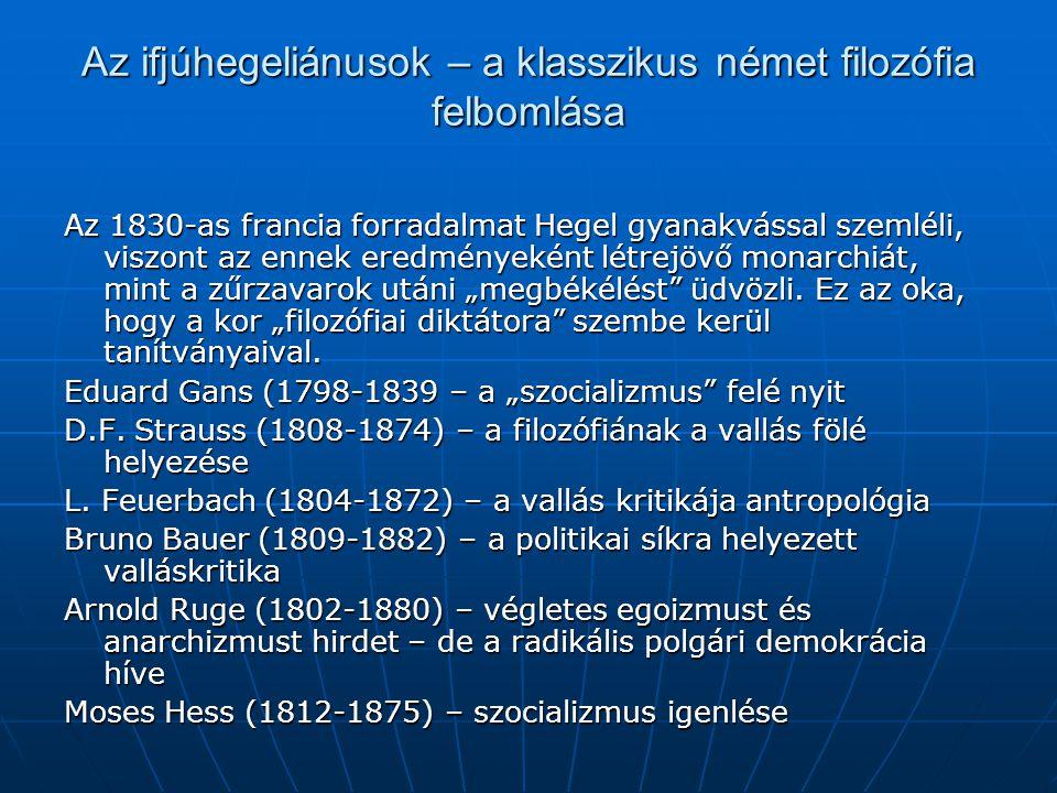 Az ifjúhegeliánusok – a klasszikus német filozófia felbomlása