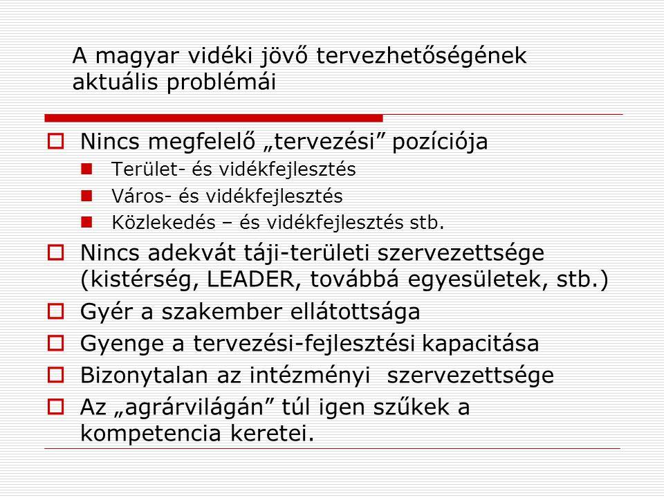 A magyar vidéki jövő tervezhetőségének aktuális problémái