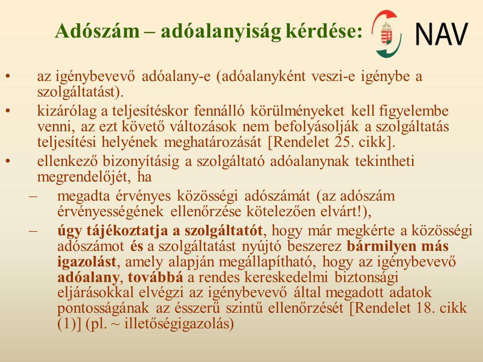 Adószám – adóalanyiság kérdése: