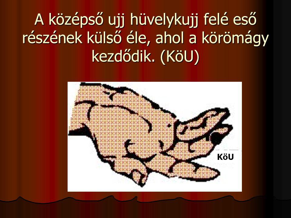 A középső ujj hüvelykujj felé eső részének külső éle, ahol a körömágy kezdődik. (KöU)