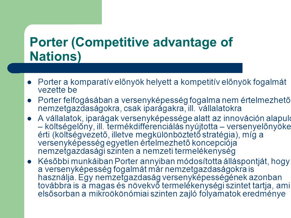 Porter (Competitive advantage of Nations)