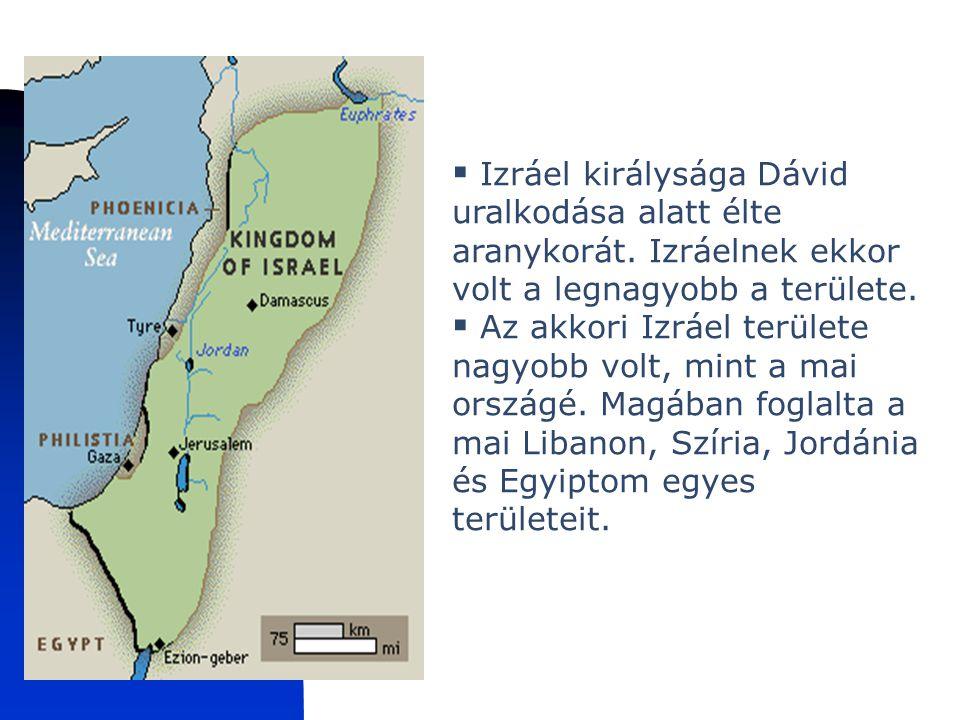 Izraeli királyság Izráel királysága Dávid uralkodása alatt élte aranykorát. Izráelnek ekkor volt a legnagyobb a területe.