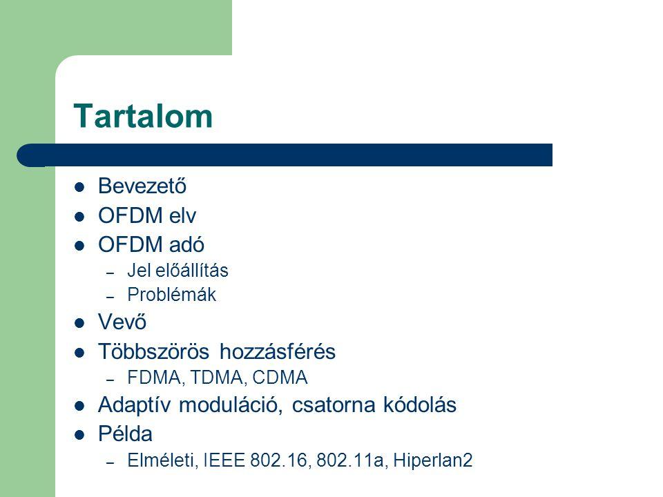 Tartalom Bevezető OFDM elv OFDM adó Vevő Többszörös hozzásférés