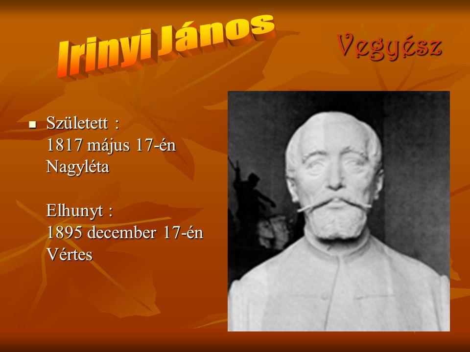 Vegyész Irinyi János Született : 1817 május 17-én Nagyléta Elhunyt : 1895 december 17-én Vértes