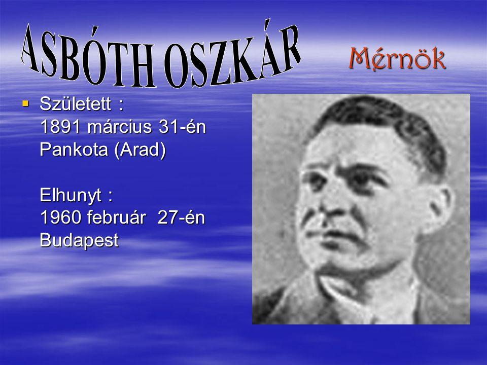 ASBÓTH OSZKÁR Mérnök.