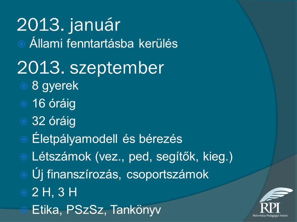 2013. január 2013. szeptember Állami fenntartásba kerülés 8 gyerek