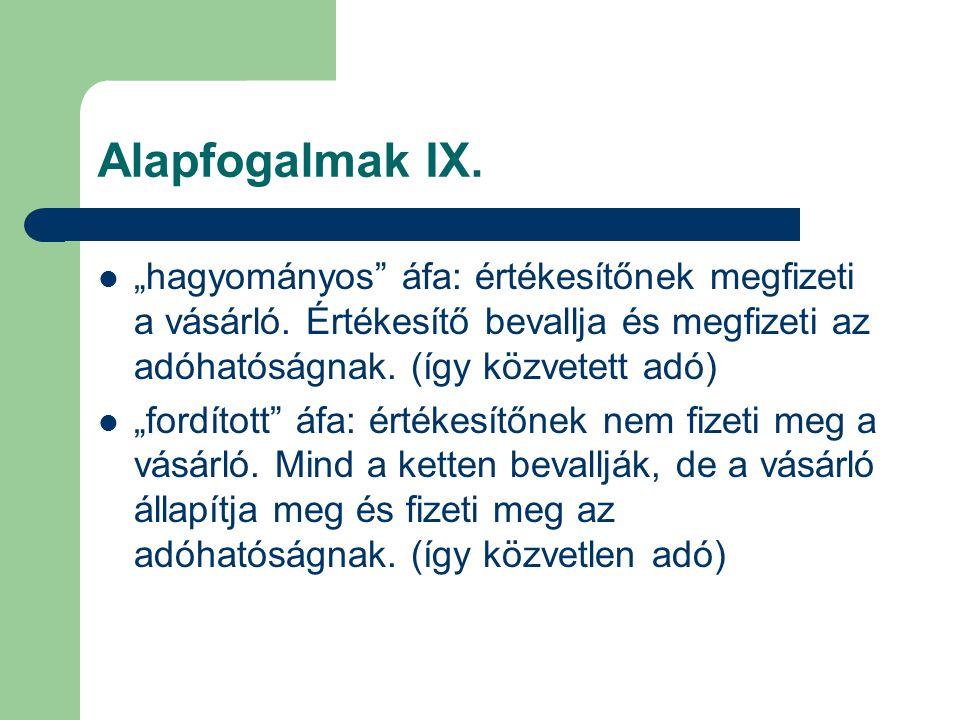 """Alapfogalmak IX. """"hagyományos áfa: értékesítőnek megfizeti a vásárló. Értékesítő bevallja és megfizeti az adóhatóságnak. (így közvetett adó)"""