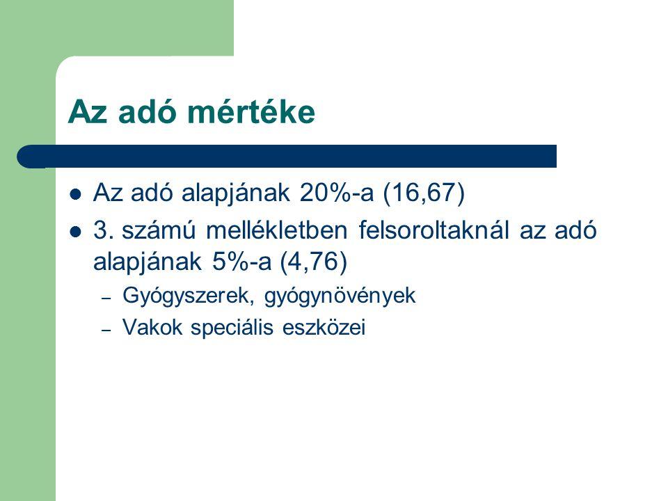 Az adó mértéke Az adó alapjának 20%-a (16,67)