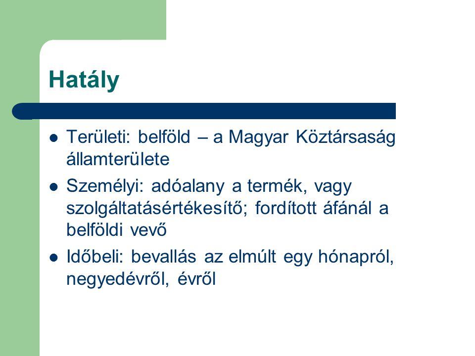 Hatály Területi: belföld – a Magyar Köztársaság államterülete