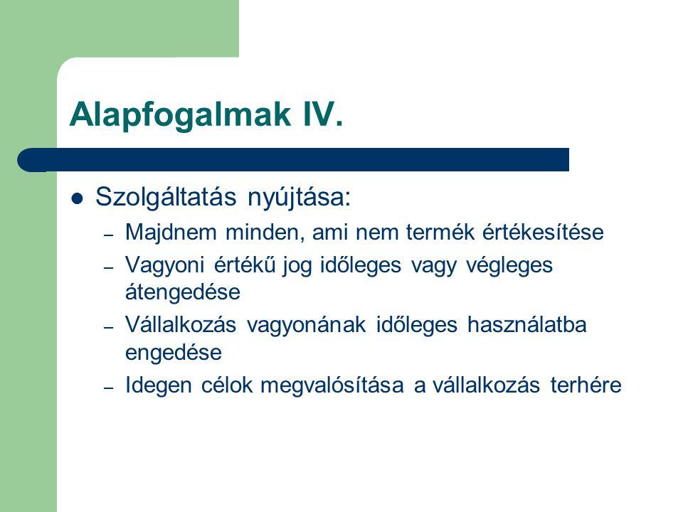 Alapfogalmak IV. Szolgáltatás nyújtása: