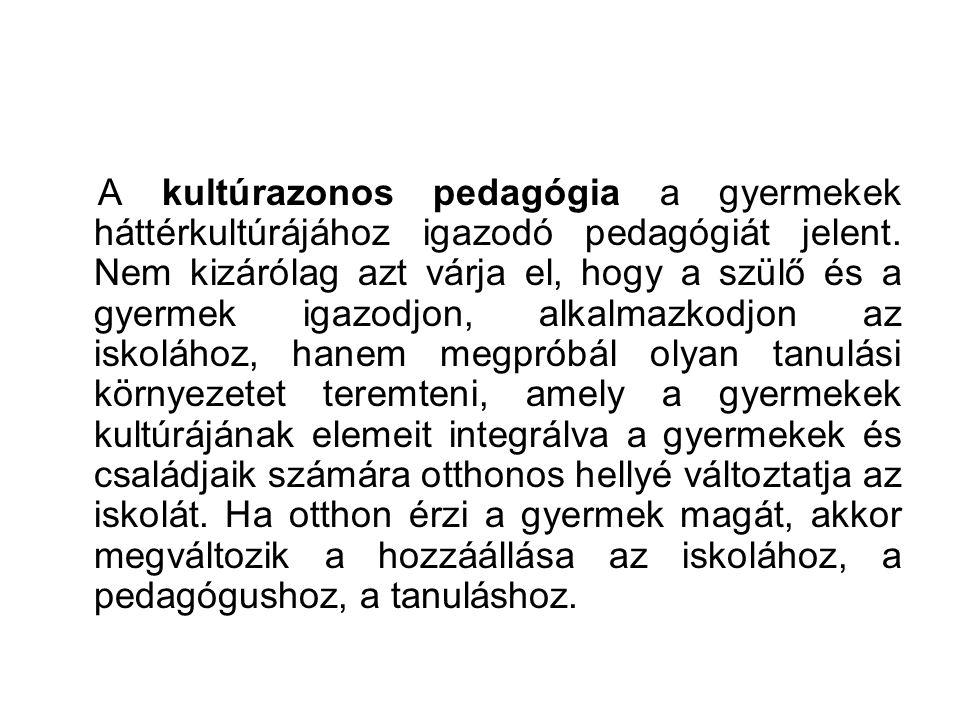 A kultúrazonos pedagógia a gyermekek háttérkultúrájához igazodó pedagógiát jelent.