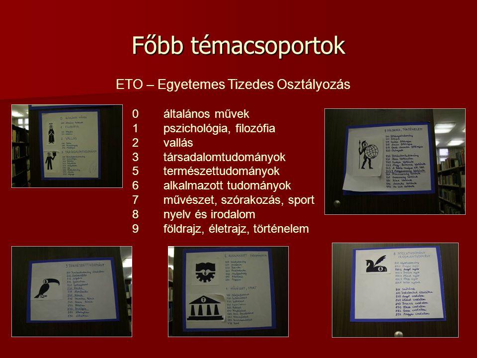 Főbb témacsoportok ETO – Egyetemes Tizedes Osztályozás