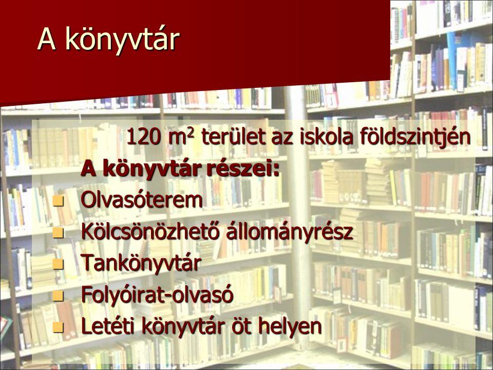 A könyvtár 120 m2 terület az iskola földszintjén A könyvtár részei: