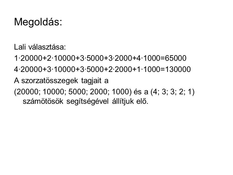 Megoldás: Lali választása: 1∙20000+2∙10000+3∙5000+3∙2000+4∙1000=65000