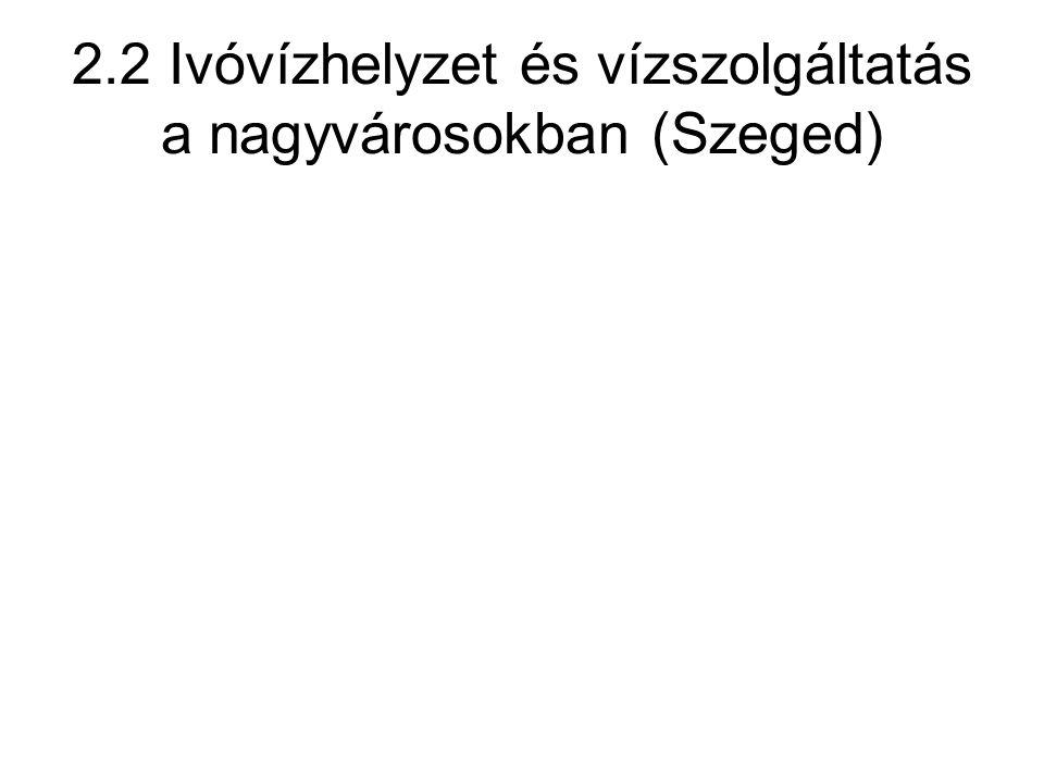 2.2 Ivóvízhelyzet és vízszolgáltatás a nagyvárosokban (Szeged)