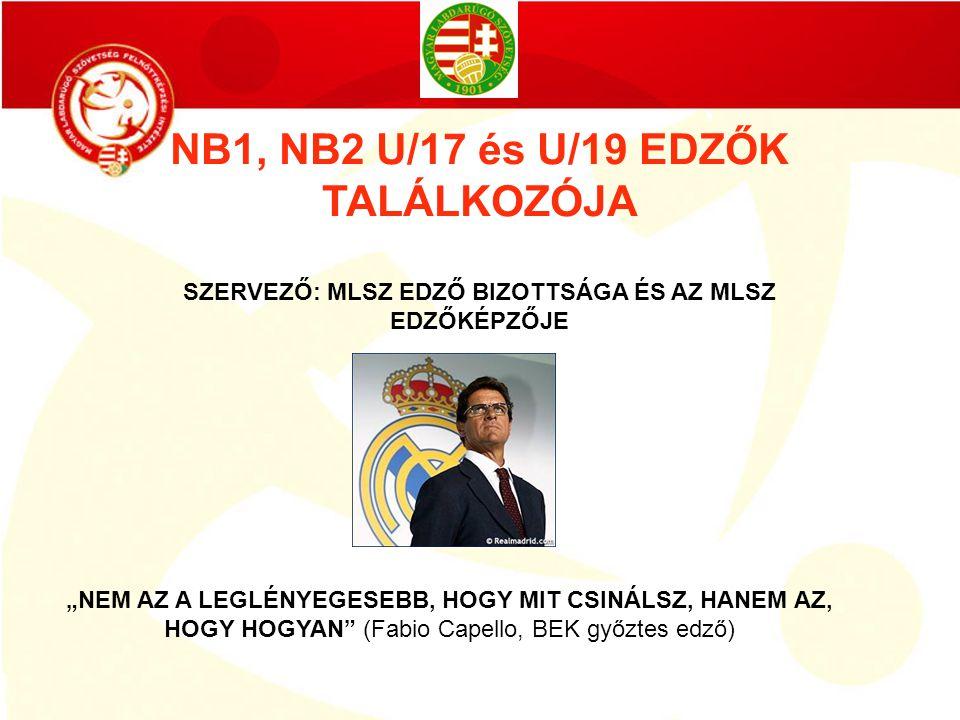 NB1, NB2 U/17 és U/19 EDZŐK TALÁLKOZÓJA