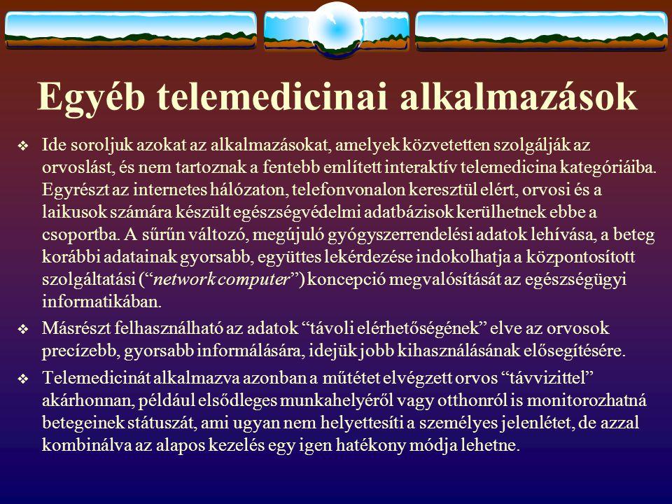 Egyéb telemedicinai alkalmazások
