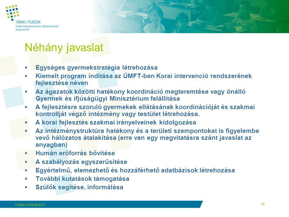Néhány javaslat Egységes gyermekstratégia létrehozása