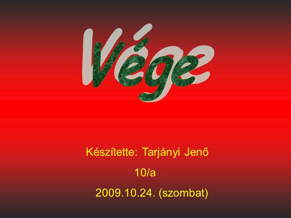 Vége Készítette: Tarjányi Jenő 10/a 2009.10.24. (szombat)