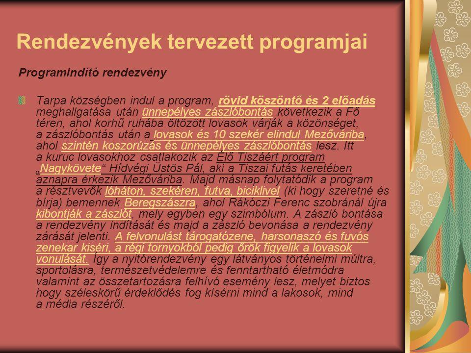Rendezvények tervezett programjai