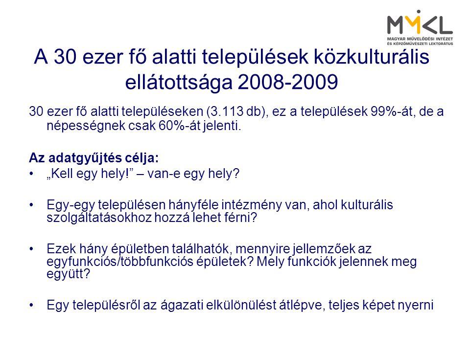 A 30 ezer fő alatti települések közkulturális ellátottsága 2008-2009