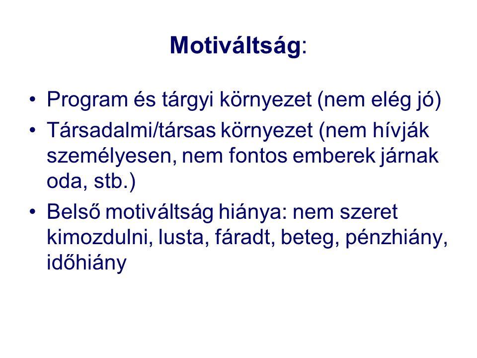 Motiváltság: Program és tárgyi környezet (nem elég jó)