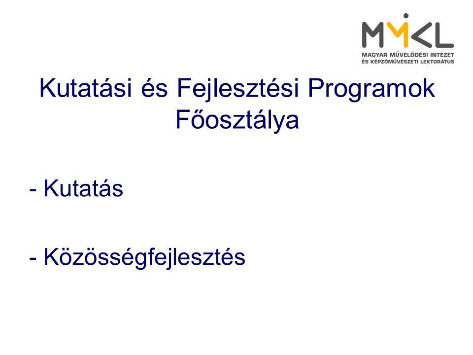 Kutatási és Fejlesztési Programok Főosztálya