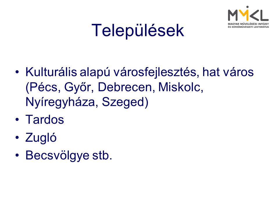 Települések Kulturális alapú városfejlesztés, hat város (Pécs, Győr, Debrecen, Miskolc, Nyíregyháza, Szeged)