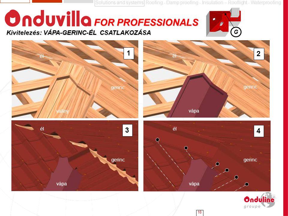 FOR PROFESSIONALS 1 2 3 4 Kivitelezés: VÁPA-GERINC-ÉL CSATLAKOZÁSA G