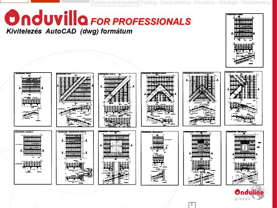 FOR PROFESSIONALS Kivitelezés AutoCAD (dwg) formátum