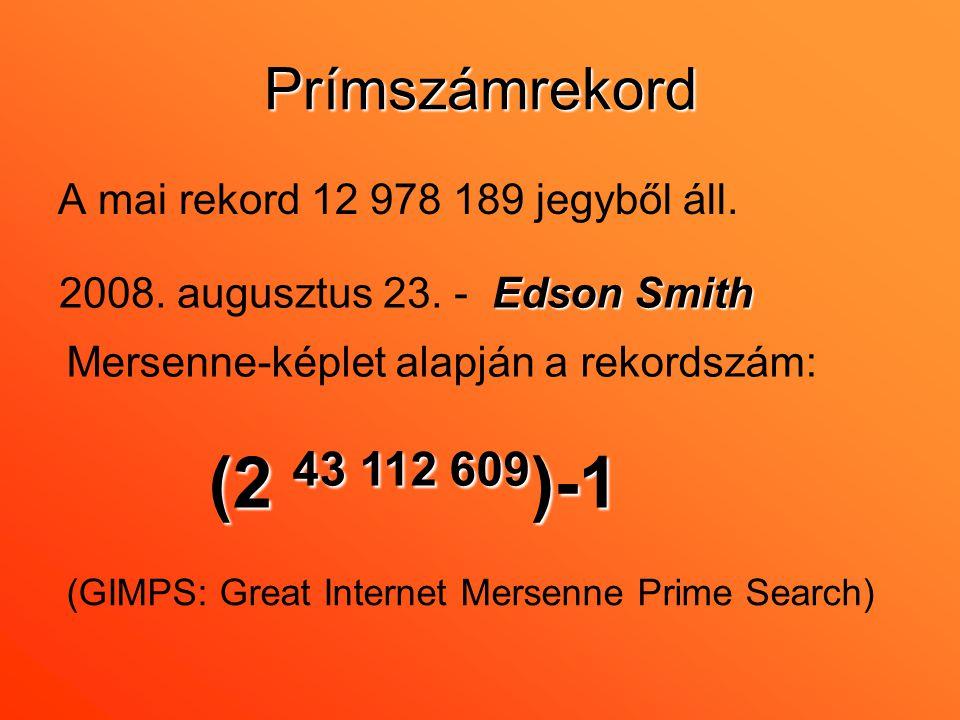 Prímszámrekord A mai rekord 12 978 189 jegyből áll.